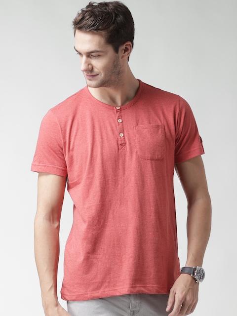 CAT Men Coral Red Parker Solid Henley Neck T-shirt