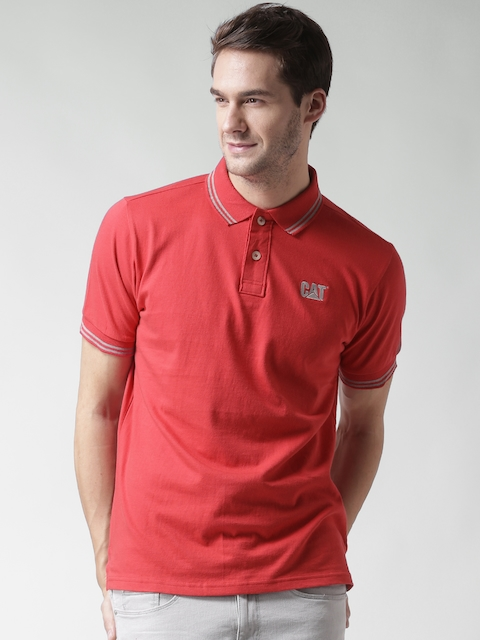 CAT Men Red Horse Power Solid Polo Collar T-shirt