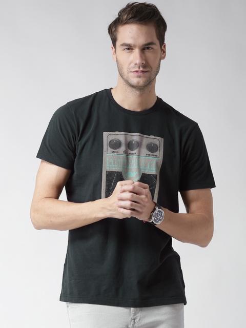 CAT Men Black Next Level Printed Round Neck T-shirt