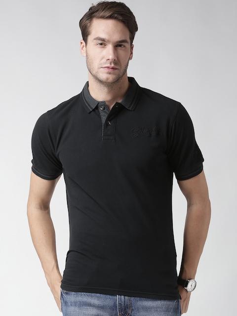 CAT Men Black Paint Brush Polo T-shirt