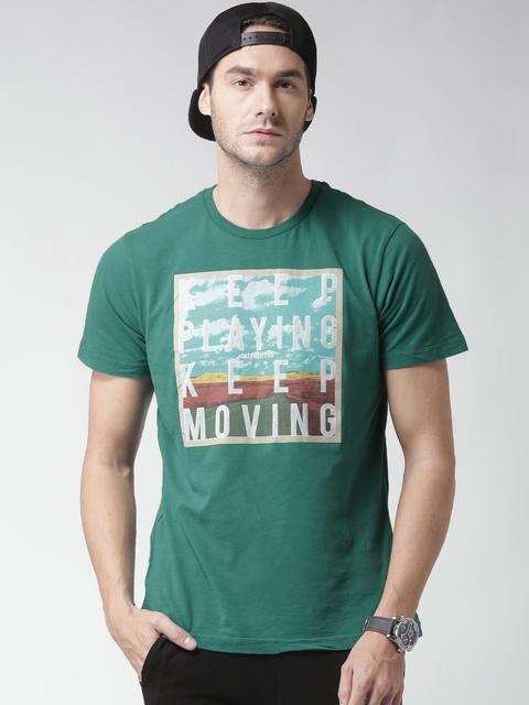 CAT Men Green Keep Moving Print Round Neck T-shirt