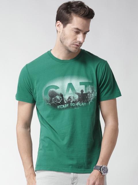 CAT Men Green Festival Printed Round Neck T-shirt