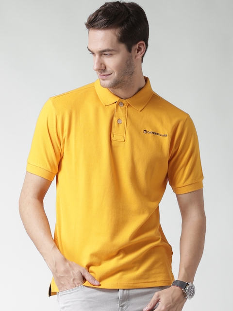 CAT Men Yellow Code Solid Polo Collar T-shirt