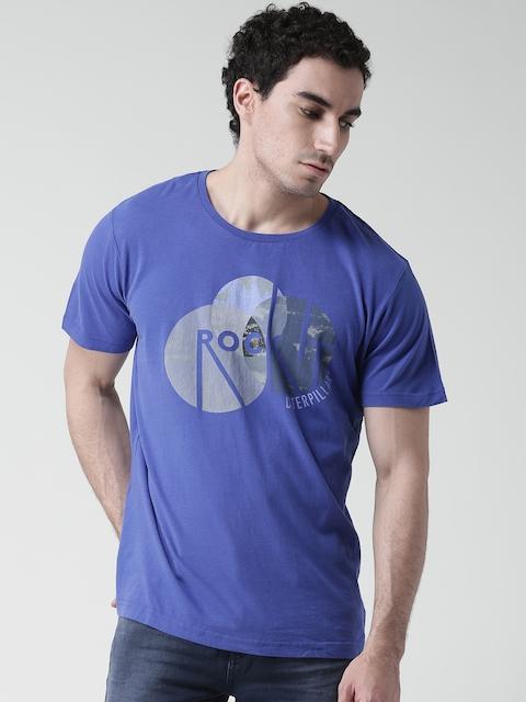 CAT Men Blue Printed Round Neck T-Shirt