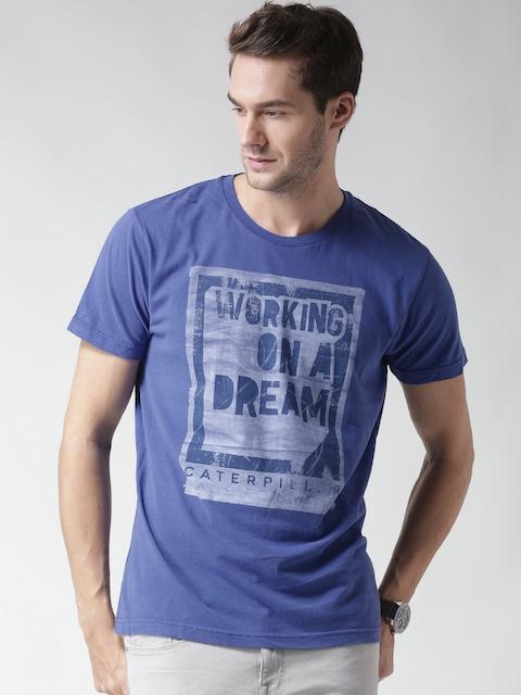 CAT Men Blue Dream Working Print Round Neck T-Shirt