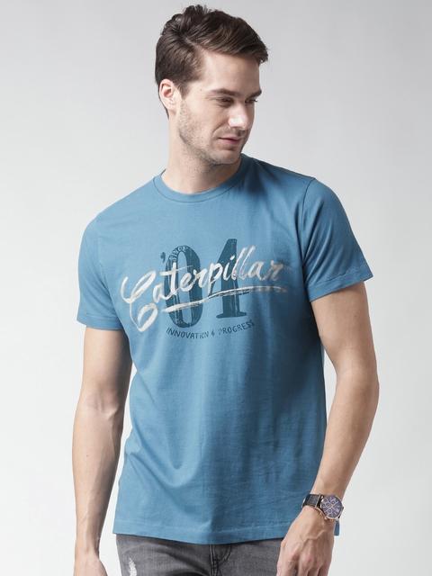 CAT Men Blue Caterpillar 04 Print Round Neck T-shirt