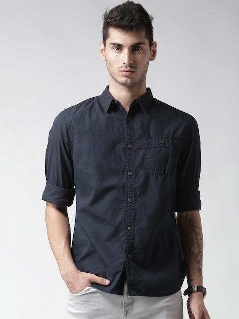 CAT Men Navy Blue Gilbert Original Fit Solid Casual Shirt