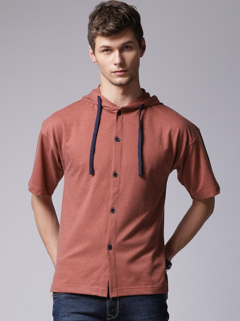 YWC Men Red Solid Hooded Casual Shirt