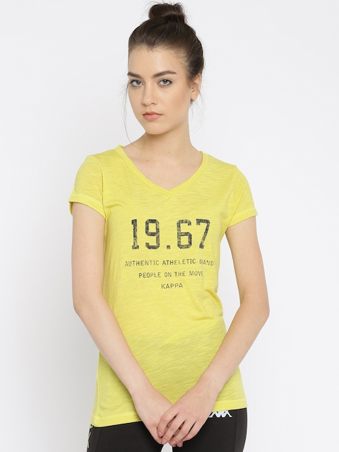 Kappa Women Yellow Printed Regular Top