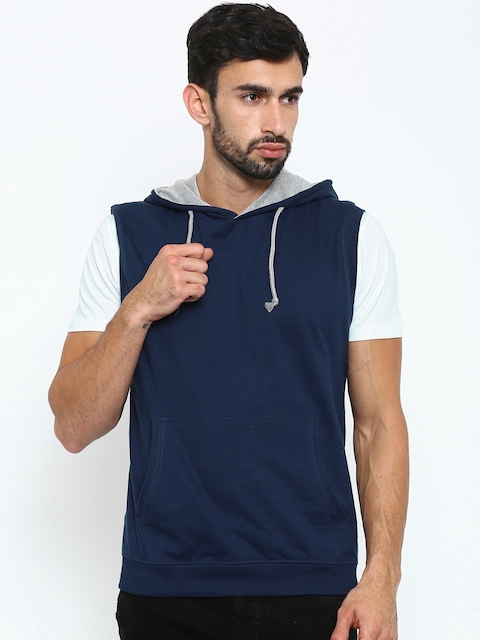American Crew Navy Hooded Sleeveless Sweatshirt