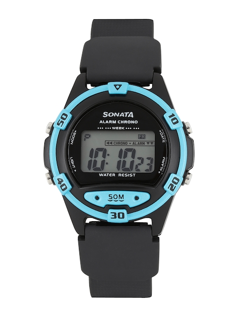 Sonata 77046PP01 Superfiber Black Digital Men's Watch