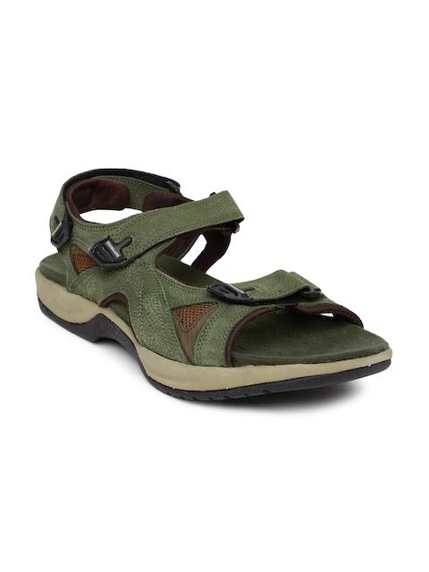 Woodland Men Olive Green Leather Sandals