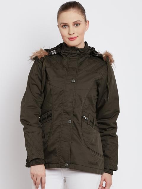 Fort Collins Olive Brown Parka Jacket with Detachable Hood