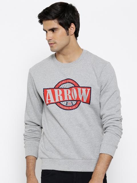 Arrow Sport Grey Melange Printed Sweatshirt