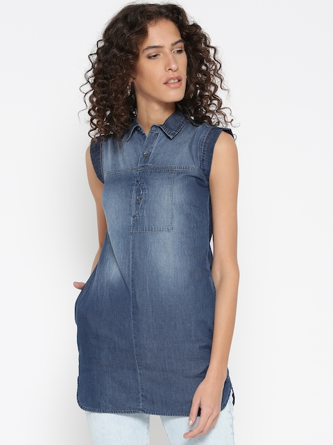 Wrangler Blue Denim Solid A-line Tunic