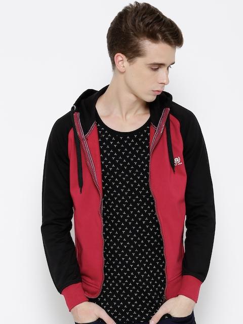 Fort Collins Maroon & Black Colourblocked Hooded Sweatshirt