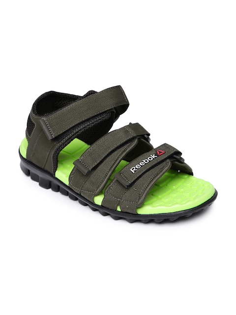 Reebok Men Olive Green Chrome Flex Sports Sandals
