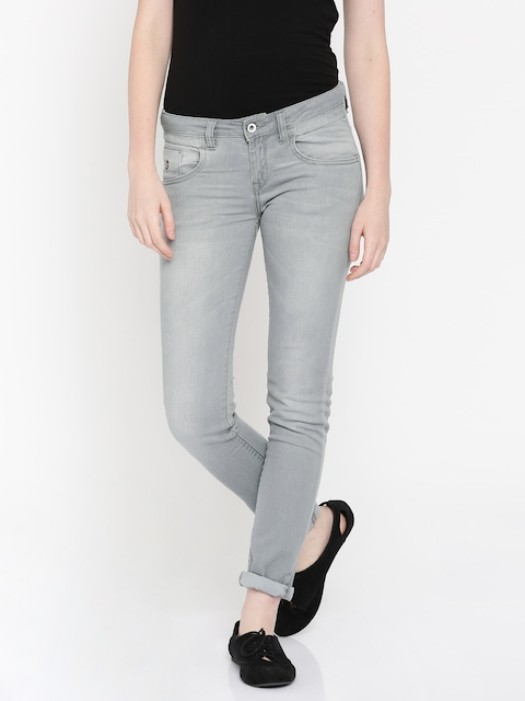 U.S. Polo Assn. Women Grey Super Skinny Fit Mid-Rise Clean Look Jeans