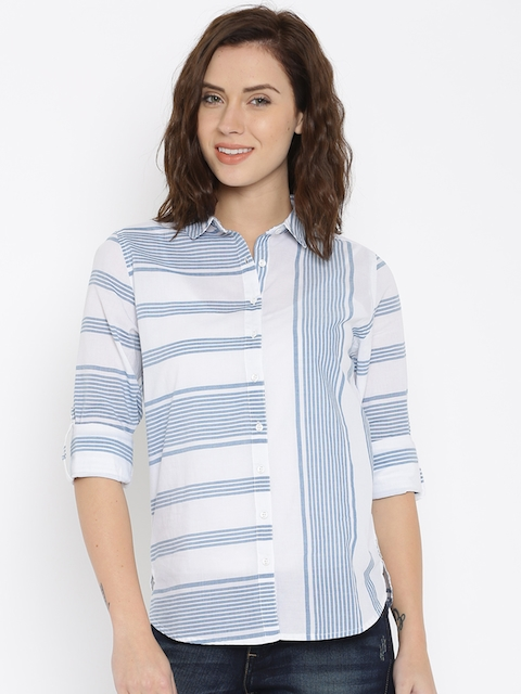 Lee Women White Striped Casual Shirt