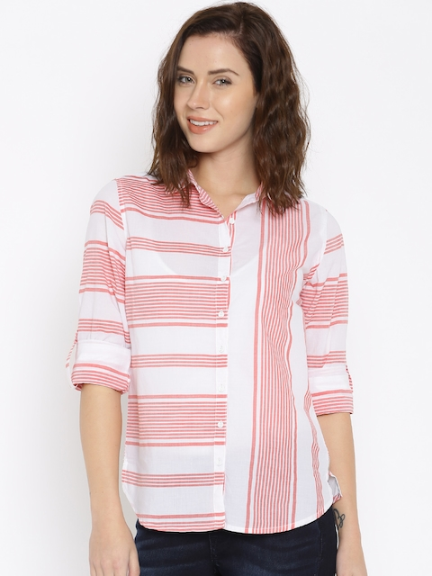 Lee Women White & Red Regular Fit Striped Casual Shirt