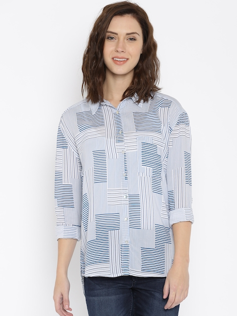 Lee Women Blue Striped Casual Shirt