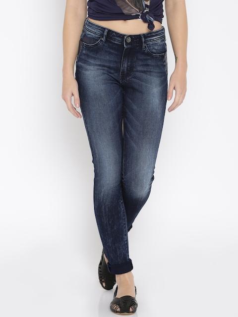Lee Women Blue Slim Fit Mid-Rise Mildly Distressed Jeans