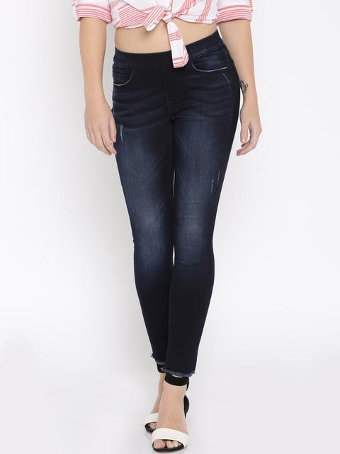 Lee Women Blue Slim Fit Mildly Distressed Stretchable Jeans