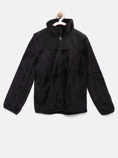 The Childrens Place Girls Black Faux Fur Jacket