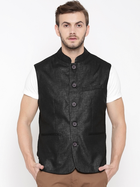 F-Factor by Pantaloons Black Nehru Jacket with Sheen
