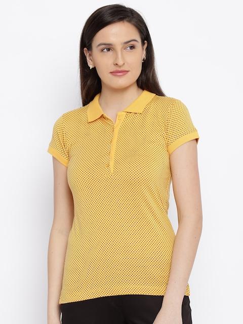 Park Avenue Women Yellow Printed Polo T-Shirt
