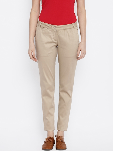 Park Avenue Women Khaki Flat-Front Trousers