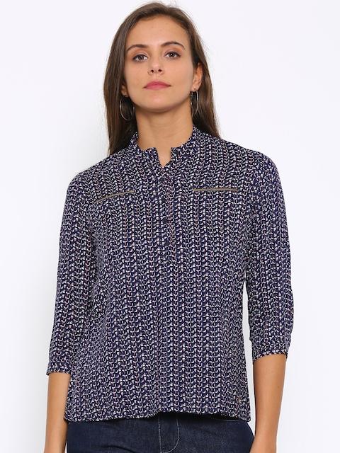 Park Avenue Women Navy Printed Casual Shirt