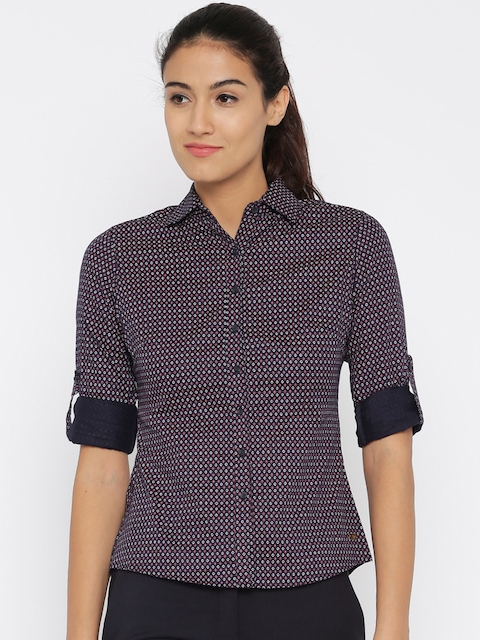 Park Avenue Women Navy Printed Casual Shirt