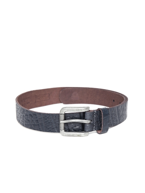 United Colors of Benetton Men Navy Textured Genuine Leather Belt