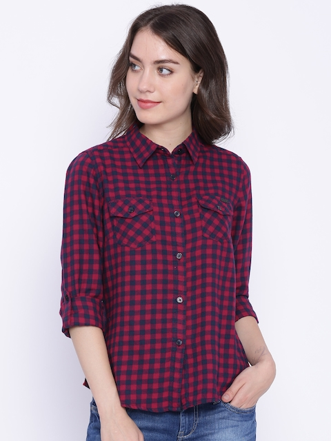 Flying Machine Women Navy & Red Checked Casual Shirt
