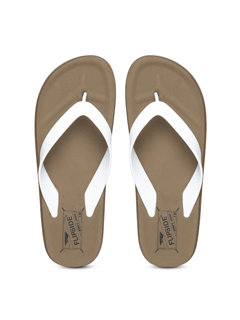 Flipside Men White & Brown Flip-Flops