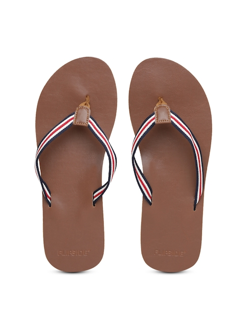 Flipside Men White & Brown Striped Flip-Flops