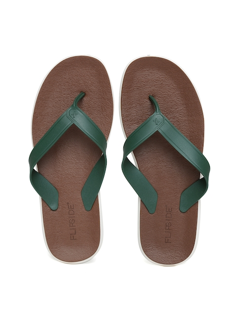 Flipside Men Green & Brown Flip-Flops