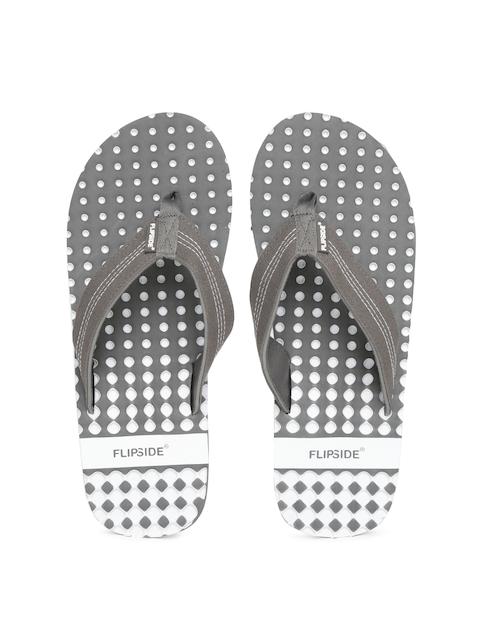 Flipside Men Grey & White Printed Flip-Flops