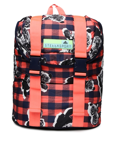 Adidas Women Navy & Coral Pink StellaSport 2.2 Checked & Printed Backpack