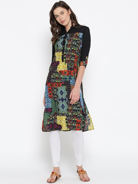 Vishudh Women Black Printed Kurta  available at myntra for Rs.399