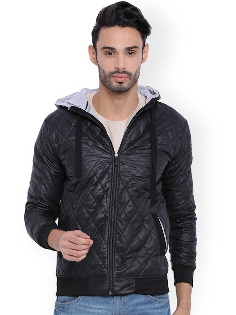 Campus Sutra Black Hooded Bomber Jacket