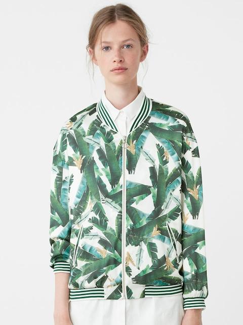 MANGO Green & White Tropical Print Jacket