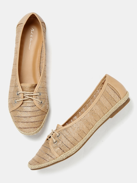 Mast & Harbour Women Brown Shimmery Woven Flat Shoes