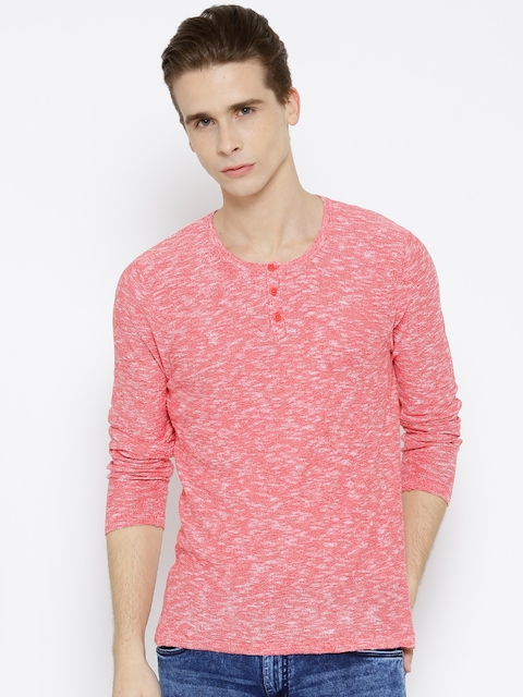 United Colors of Benetton Men Pink Grindle Effect Henley T-shirt