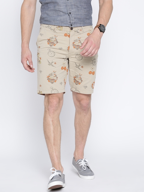 Jack & Jones Men Beige Printed Chino Shorts  available at myntra for Rs.878