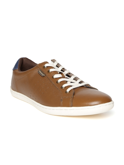 Red Tape Men Tan Brown Leather Perforations Sneakers