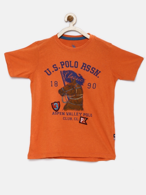 U.S. Polo Assn. Kids Boys Orange Printed Round Neck T-shirt  available at myntra for Rs.449