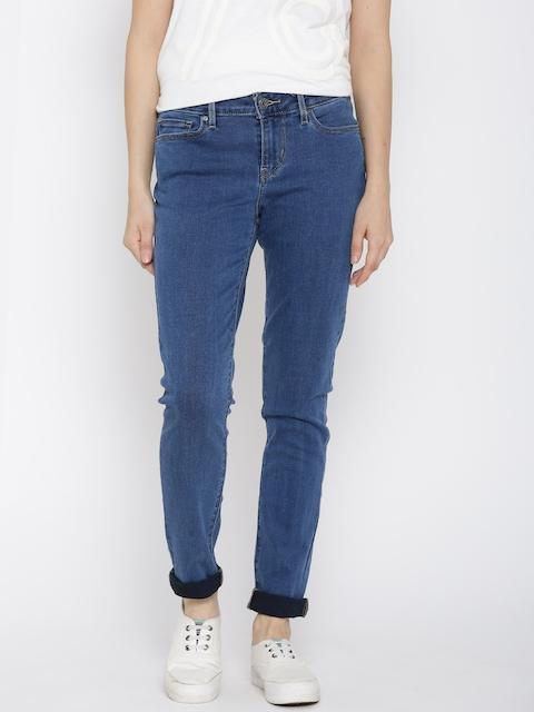 Levis Women Blue Skinny Fit Mid-Rise Clean Look Jeans