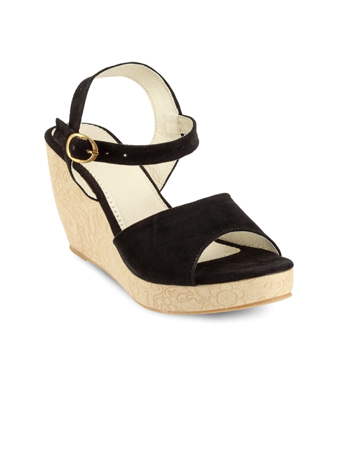Nell Women Black Solid Wedges  available at myntra for Rs.449